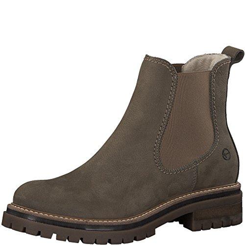 Tamaris Damen Chelsea Boots 25474-21,Frauen Stiefel,Halbstiefel,Stiefelette,Bootie,Schlupfstiefel,hoch,Blockabsatz 3.5cm,Taupe,EU 41