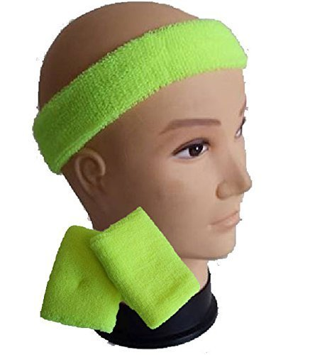 Kids Neon Yellow Headband, Sweatband & Wristbands - 1980s Workout Set