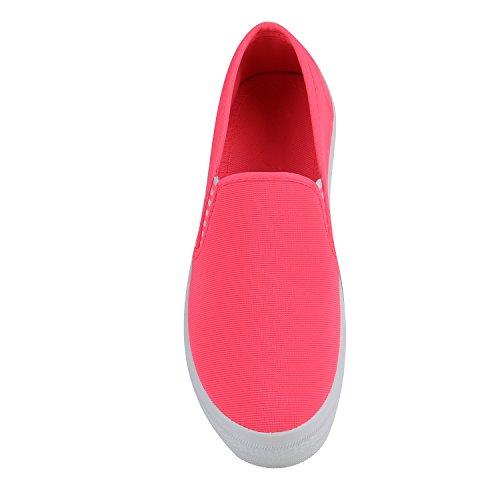 Damen Slip-ons Dandy Slipper Fransen Lack Plateau Schuhe Neonpink
