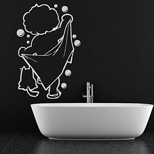 jiuyaomai Badezimmer Dekor Bad Zeit Vinyl Wandkunst Wandhauptdekor Design Badezimmer Dusche Baby Dekoration Abnehmbare Wandaufkleber weiß 38x57 cm