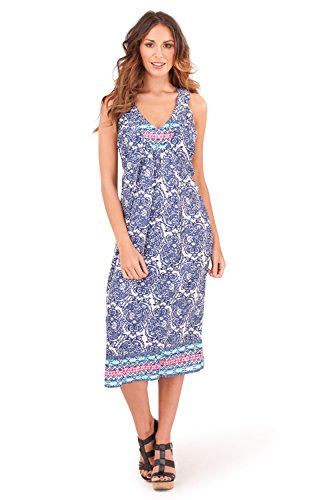 Dannii Matthews - Robe - Avec taille nouée - Imprimé Cachemire - Sans Manche - Femme Bleu marine/rose