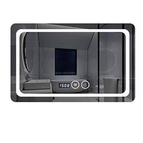 MGEU LED-Badezimmerspiegel, Illuminated Wall Mounted Rectangle Abgerundete explosionsgeschützte Kosmetikspiegel mit Beleuchtung Touch-Schalter Demister Time Temperature Display -