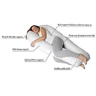 Ashley Mills 9 Ft Jumbo Extra Fill Body U Pillow Nursing Pregnancy Body Back Total Body Support Pillow White