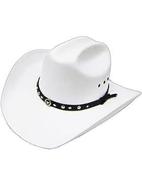 Modestone Unisex Traditional Straw Sombrero Vaquero Sheriff Star Hatband White