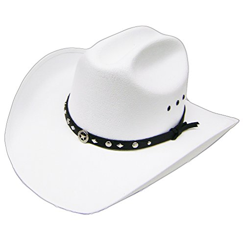 Rodeo Kostüm Star - Modestone Unisex Traditional Straw Cowboy-Hut White
