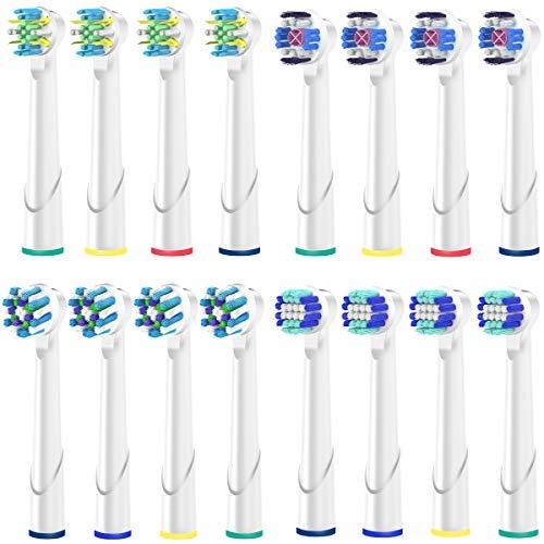 Recambios Cepillo Oral B Compatible, QLEBAO Oral B Cabezales 16 Cabezales para Oral B 3d White EB18, Precision Clean EB20, Flossaction EB25, CrossAction EB50 Cabezales de Cepillo de Dientes (Blanco)