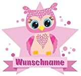 Samunshi® Große rosa Eule Aufkleber mit Namen Autoaufkleber Namensaufkleber Kinder in 7 Größen (10x8,8cm Mehrfarbig)