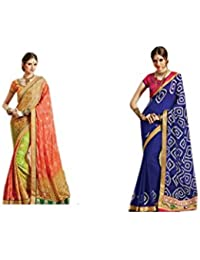 Mantra Fashions Women's Georgette Saree (Mant32_Multi)-Pack of 2