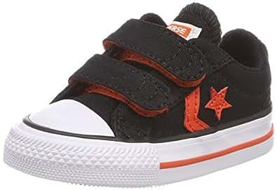 Converse Unisex Baby Star Player EV 2V OX Black/Gym Red/White Hausschuhe, Schwarz (Black/Gym Red/White 001), 20 EU