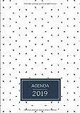 Agenda: Semainier - Grand Format A4 - Motifs Simple Blanc Bleu - Calendrier Janvier à Décembre