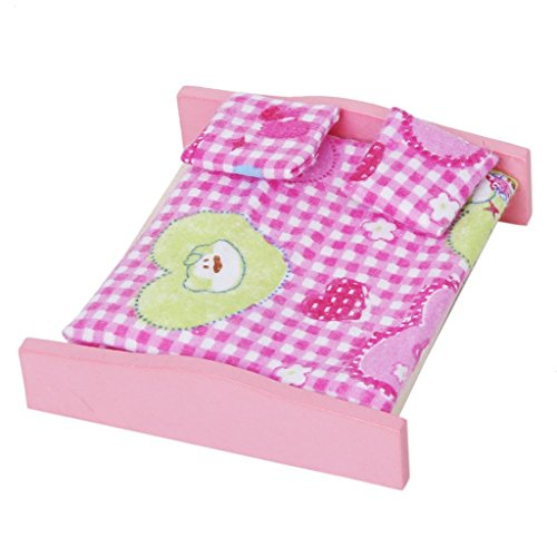 ANKKO Wooden Doll House Furniture Toy Bedroom Set