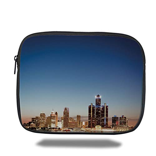Tablet Bag for Ipad air 2/3/4/mini 9.7 inch,Detroit Decor,Michigan Skyline at Twilight Waterfront Lively City Serene Travel Destination Decorative,Multicolor,3D Print -