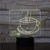 Hlsgmv Usb 3D Led Nachtlicht Kaffeetasse Multicolor Rgb Dekorative Lampe Junge Kind Kind Baby Geschenk Kaffeebohne Tischlampe Nachttisch