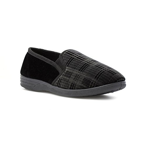 The Slipper Company - Mens Checked Velour Slipper in Black - Size...