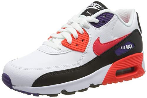 Nike Jungen AIR MAX 90 LTR (GS) Laufschuhe, Weiß (White/BRT Crimson/Black/Court Purple 117), 38 EU