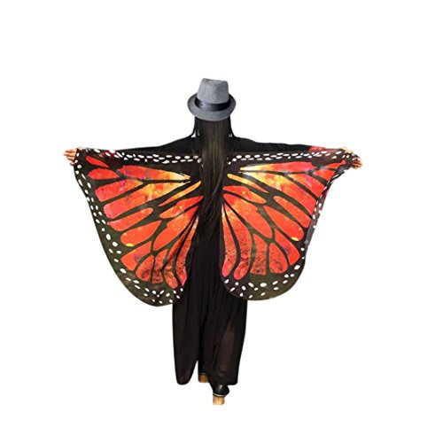 Damen Schmetterlings Kostüm,Beikoard Frauen 145*65CM Weiche Gewebe Schmetterlings Flügel Schal feenhafte Damen Nymphe Pixie Kostüm Halloween Partei Cosplay Accessoire (Rot 4) (Peacock Print Seide)