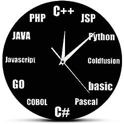 ALKLKJ Reloj de Pared Programa Idioma Diseño Minimalista Reloj de Pared Oficina de Ti de Negocios Programa de Decoración de La Pared Reloj de Pared de Cuarzo Nerd Regalos para Geeks de Ti