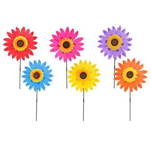 Fenteer 6pcs DIY Sonnenblume Windmühle Windrad Windspiel Aus Stoff Garten Balkon Terrasse Blume Dekoration Deko (Stoff Windrad)