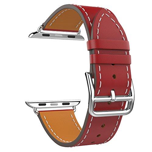 MoKo Apple Watch 42mm Cinturino, Braccialetto Lusso Morbido di Giro Singolo di Ricambio in Vera Pelle per Apple Watch 42mm di Series 1 2015 & Series 2 2016, ROSSO (NON Adatto a