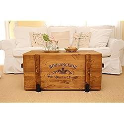 Uncle Joe's - Caja de madera estilo retro (mesa auxiliar) color blanco