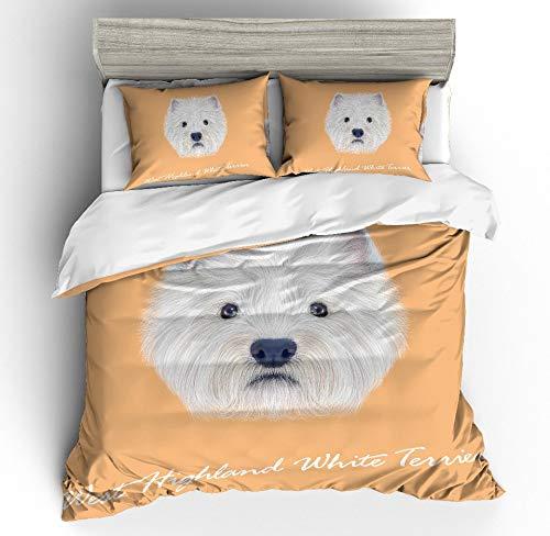 JSDJSUIT Bettwäsche-Set MUSOLEI 3D Duvet Cover Set Animal White Dog Head Yolk backgroud Bed Sheet Twin Queen King,AU Double 3pcs