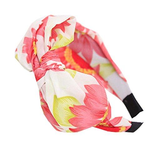 Demarkt Damen Haarreif Sonnenblume Muster Stirnband Kopfband Haarspange Stirnschmuck Haarschmuck Damenschmuck (Rot)
