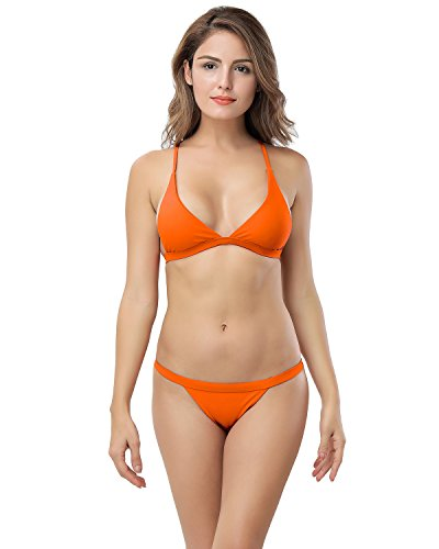 X-HERR Damen Sexy Triangel Top Brasilianisch Boden Bikini Badebekleidung Braun