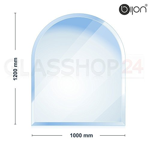 bijon - 6mm Kamin Glasbodenplatte - Rundbogen 1000 x 1200mm - 18mm Facette