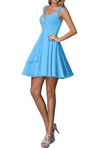 La_Marie Braut Pfirsisch Traeger Damen Cocktailkleider Abendkleider Kurzes Ballkleider Mini Chiffon Rock Blau