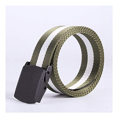 ZHYAODAI Avoid Allergies No Metal Large Canvas Wasit Belt with Plastic Buckle Male Nylon Soft Tactical Strap Army Recently Canvas Belts, Smootharmygreenwhite