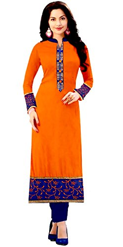 Kurtis for women latest party wear design today offers buy online for low price sale in Orange color and Cotton Fabric Free Size Printed Ladies Kurta