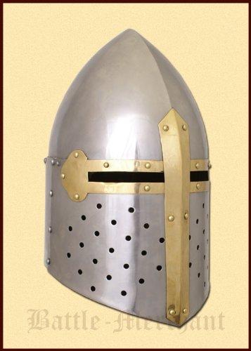 Battle-Merchant Topfhelm -Sugar Loaf- um circa 1330 - Ritterhelm - Mittelalter - Helm - LARP -