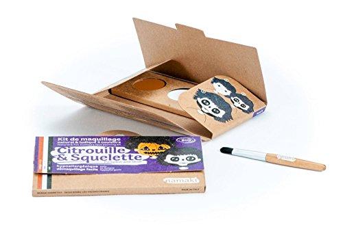 (NAMAKI - Make-up-Set für Kinder - 3 Farben für das Gesicht - Kürbis und Skelett - Orange Weiß Schwarz - Mit Pinsel - Natürliche und hypoallergenen Farben - 7,5 g)