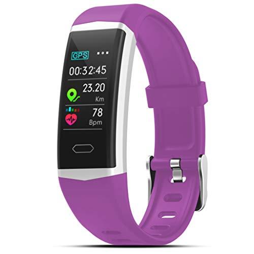 Smart Armband Bluetooth Fitness-Tracker B5 Intelligente Uhr Herzfrequenz-Überwachung Schlafüberwachung Informationen erhalten IP67 wasserdicht Kompatibel mit Android und IOS (Lila) -
