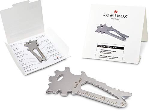 Geschenkartikel: ROMINOX Key Tool // Lion, 22 Funktionen, Edelstahl Multitool inkl. Funktionsbeschreibung, Multifunktionswerkzeug, auf Reisen oder Urlaub
