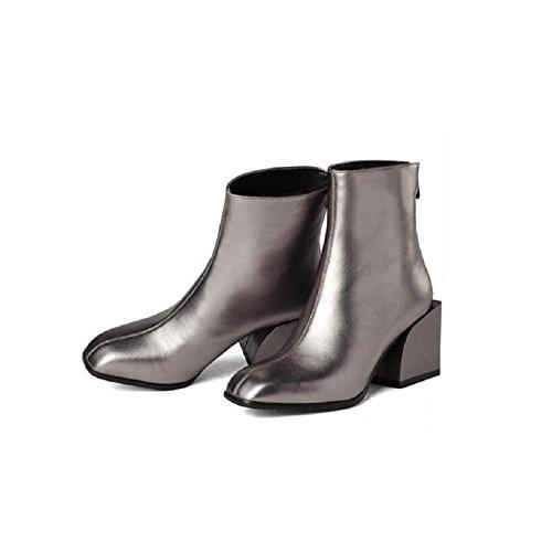 """YYH Bottes Classic Short Suede couleur unie """"BOLD"""" Fashion Square Head avec chausson épais gray"""