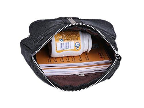 Genda 2Archer Genda 2Archer Pequeño Vintage Cuero de la PU del Paquete de Fanny Viajes Bolso de la Cintura Vago Bolso (Negro)
