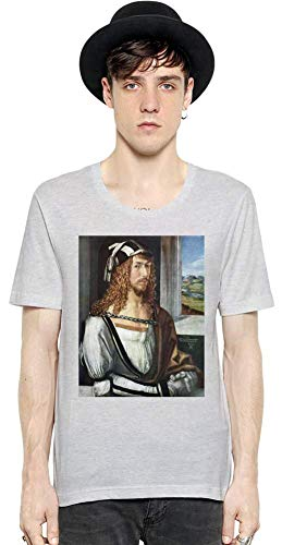 Top Paintings of All Time Albrecht Dürer - Self-Portrait Painting Men Short Sleeve T-Shirt Tee Shirt Stylish Fashion Fit Custom Apparel by X-Large -