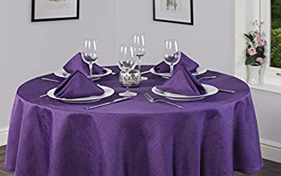 Linen Look Soft Feel Easycare Plain Polyester Slubbed Purple 69in (175cm) Round (Circular) Christmas Tablecloth And 4 Napkin Set. Ideal For 4-6 Place Settings. All Sizes Approximate