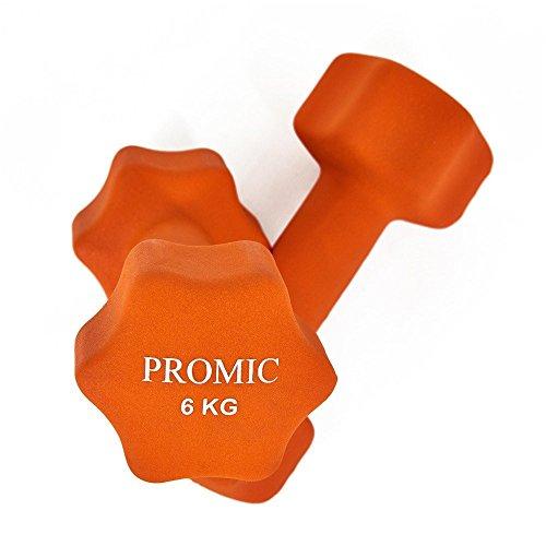 PROMIC  Neopren Hanteln Gewichte für Gymnastik Kurzhanteln- ideal für Aerobic & leichtes Fitnesstraining, 13 verschiedene Gewichte und Farben zur Auswahl (2er-Set), 2 x 6 kg, Orange - 5