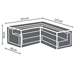 41pS9LU9k9L. SS300  - Perel - 215 cm, garden OCLSL215 Case For L Shaped Furniture Set Black, 215 x 215 x 70 cm