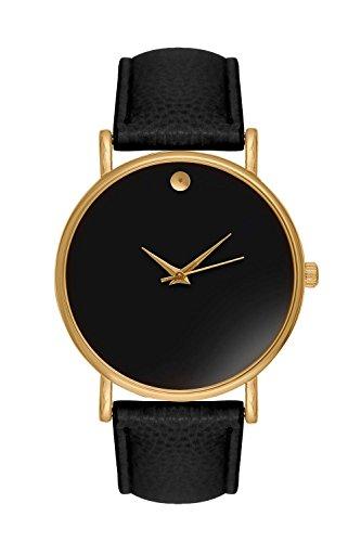 New Trend Unisex Armbanduhr Damen-Uhr Herren-Uhr, Analog Display, Quarzwerk, Leder-Armband, klassische schlichte Zeigeruhr mit Dornschließe