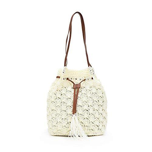 Stroh-Tragetaschen für Damen, Sommer, Strand, Schultertasche, Handtasche für Damen, Strand, Reisen, Beruf Gr. One size, weiß
