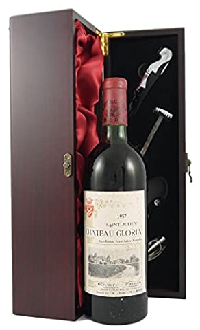 Chateau Gloria St Julien 1957 Vintage Wine presented in a silk lined wooden box with four wine