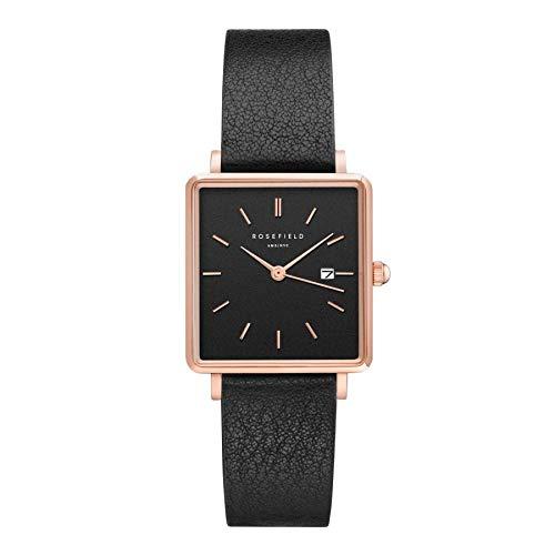 Rosefield Damen Analog Klassisch Quarz Uhr mit Leder Armband QBBR-Q10