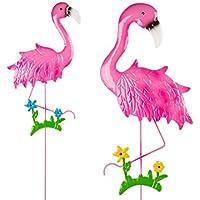 OOTB Metal Rosa Flamingo adorno de jardín molino de viento decoración