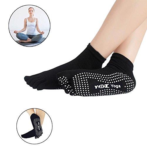 Pilates / Yoga / Martial Arts / Fitness, Gymnastik / Tanz Socken, Fußbodensocken, Socken Yoga-Socken rutschfeste Gummisohlen Atmungsaktivität rutschfeste Socken Baumwolle Zehensocken Funktion Yogasocken (1 Paar),Schwarz