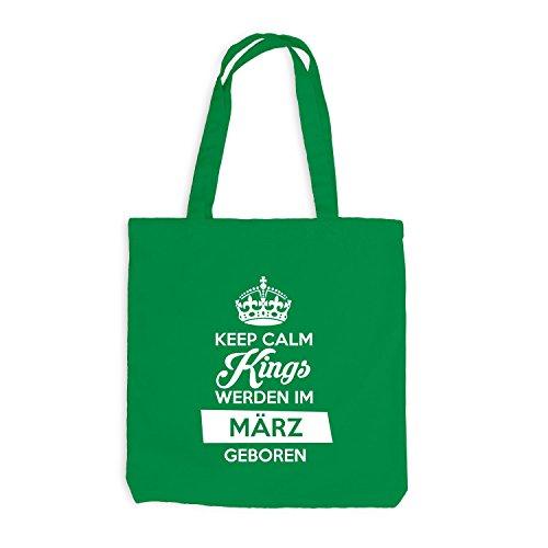 Jutebeutel - Keep Calm Kings werden im März geboren - Birthday Geburtstag Kellygrün