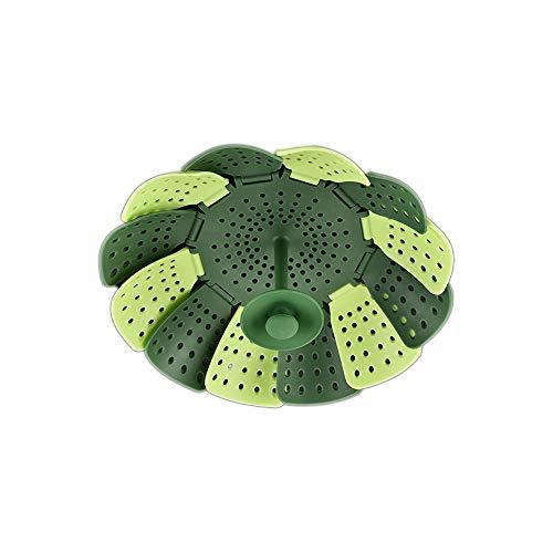 Qianming Gadgets de Cocina de Vapor Plegables retráctiles de Silicona Cuenco de Fruta de Loto multifunción (Verde)