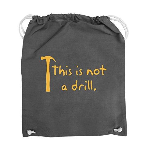 Comedy Bags - This is not a drill - HAMMER - Turnbeutel - 37x46cm - Farbe: Schwarz / Silber Dunkelgrau / Gelb